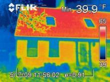 Infrared image of leaking house as part of diagnostic test